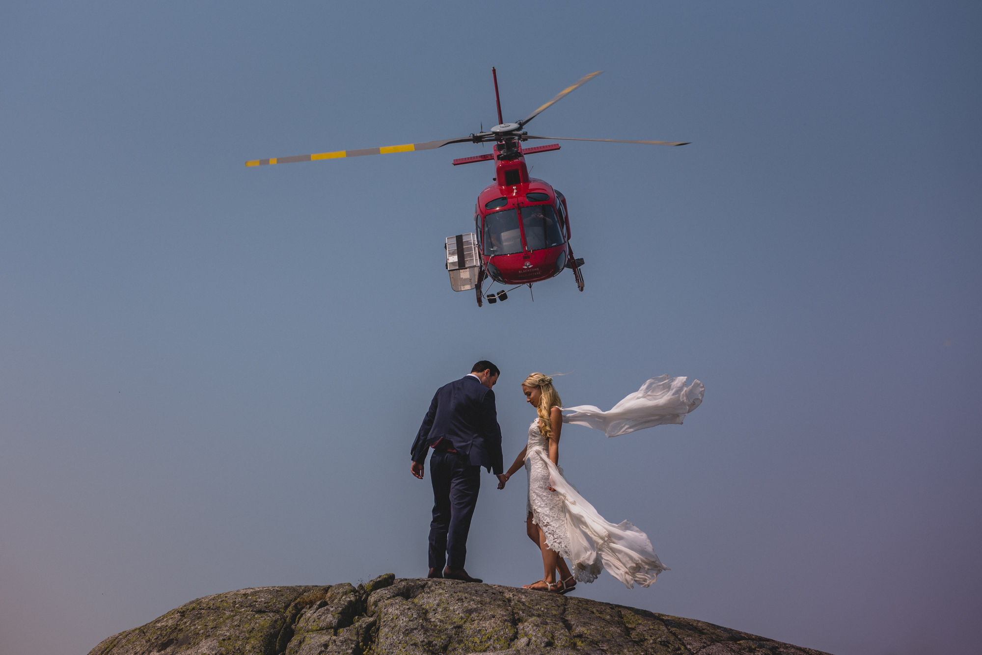 blackcomb heli wedding couple whistler