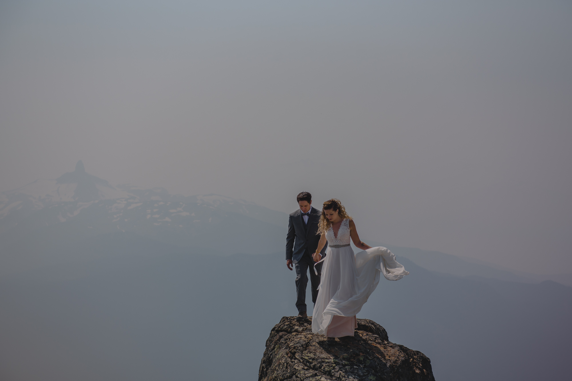 black tusk whistler peak wedding couple